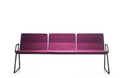 Zitbank Bildu- voor wachtruimtes - paarse gestoffeerde uitvoering