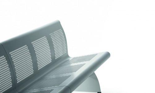 Stevige zitbank Vacante - voor een wachtruimte - metalen uitvoering - diagonale invalshoek